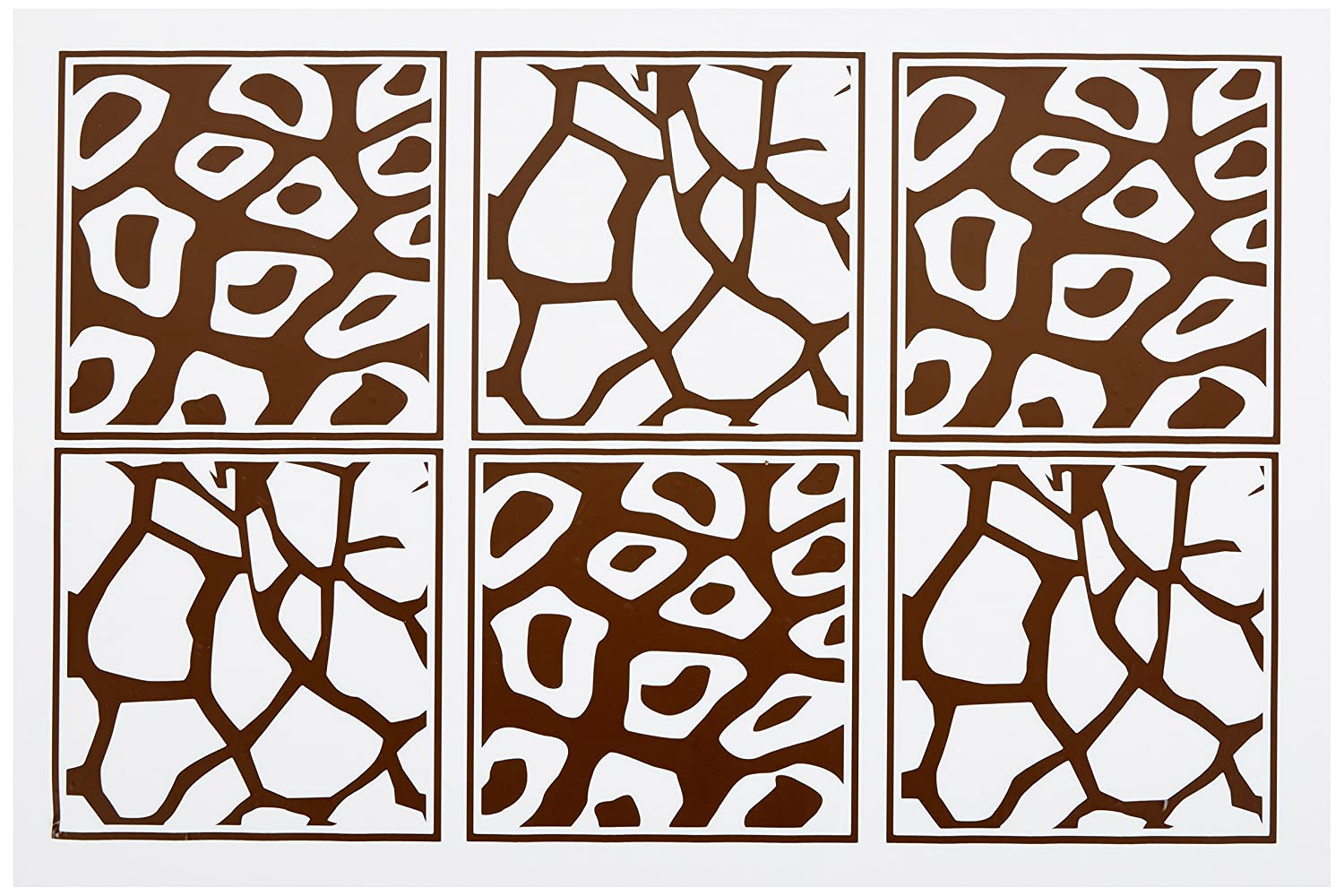Wall Decor Plus More WDPM004 Animal Print Wall Decor 6 Squares Vinyl Sticker Decals Chocolate Brown Chocolate Brown