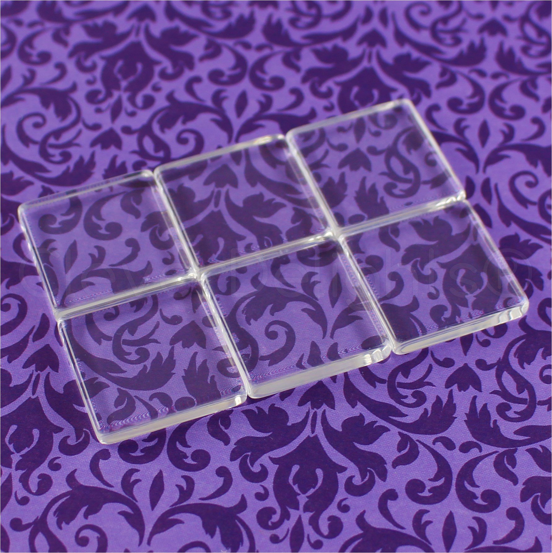 40 CleverDelights Square Glass Tiles - 1 Inch - Clear Tiles - Glass Cabochons - For Photo Pendants Mosaics Trays - 1'' 25mm Tiles - 4mm Thick