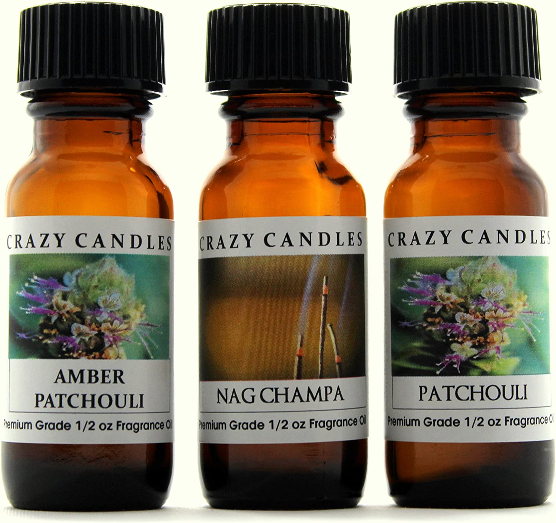 Crazy Candles 3 Bottles Set, 1 Amber Patchouli, 1 Nag Champa, 1 Patchouli 1/2 Fl Oz Each (15ml) Premium Grade Scented Fragrance Oils
