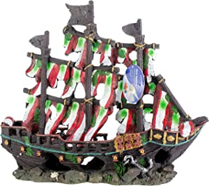 Penn Plax Striped Sail Shipwreck Aquarium Decoration Ornament Colorful Red and White Design 12 Inch