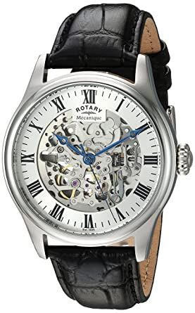 f6f363948420 Rotary Men s Analog Automatic-self-Wind Watch with Leather Calfskin ...