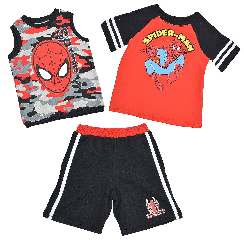 Marvel Boys 2-7 Spider-Man 3-Piece Top /& Shorts Set