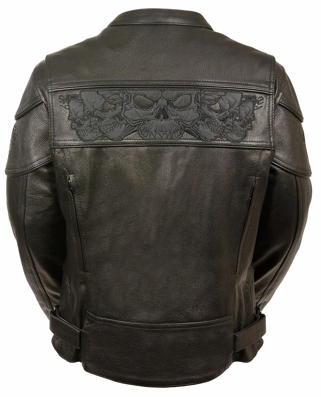 Amazon.com: Ladies Reflective Skulls Soft Naked Cowhide Leather Motorcycle  Jacket (XX-Large): Automotive