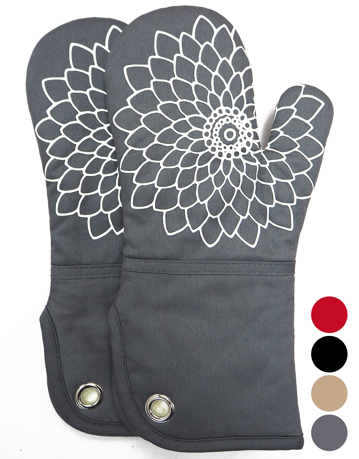 Heat Resistant Kitchen Oven Mitt With Non-Slip Silicone Printed, Set Of 2 Oven Gloves for BBQ cooking baking, Grilling, Barbecue,microwave, Machine Washable.(Gray) by DETA HOME