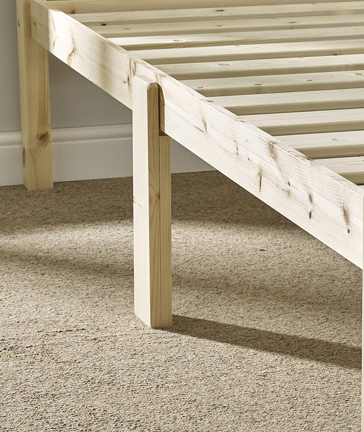 Double Pine Bed 4ft 6 HEAVY DUTY Wooden Frame with extra wide base slats and centre rail - VERY STRONG Strictlybedsandbunks