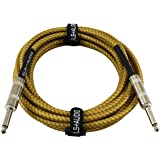 GLS Audio 15 Foot Guitar Instrument Cable - 1/4 Inch TS to 1/4 Inch TS 15-FT Brown Yellow Tweed Cloth Jacket - 15 Feet…