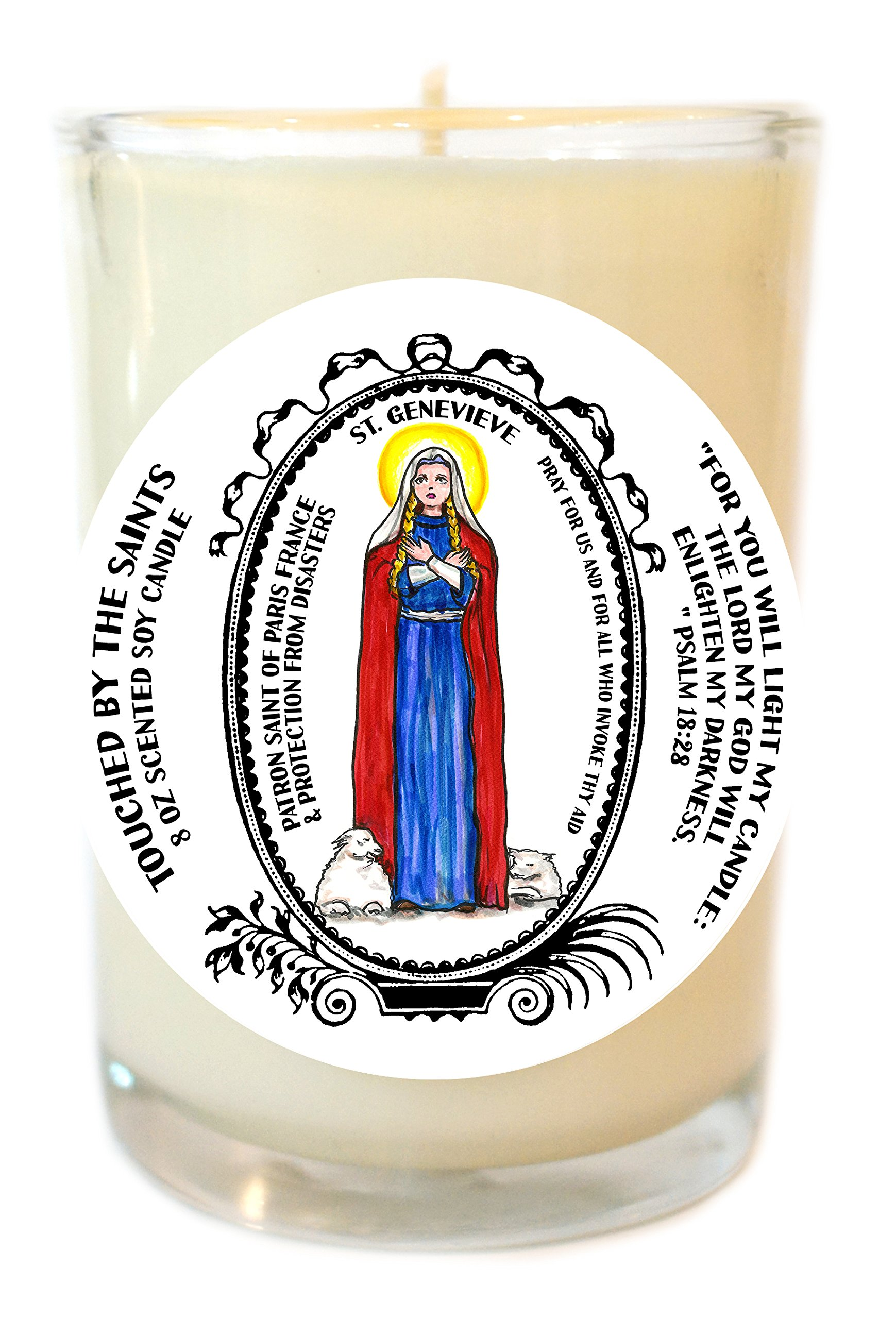 St Genevieve Patron of Paris & Protection From Disasters 8 Oz Scented Soy Glass Prayer Candle