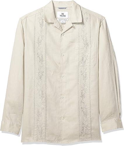 Marca Amazon – 28 Palms – Camisa guayabera bordada de manga larga, corte holgado, de lino 100 % para hombre, Natural, US XXL (EU XXXL - 4XL): Amazon.es: Ropa y accesorios