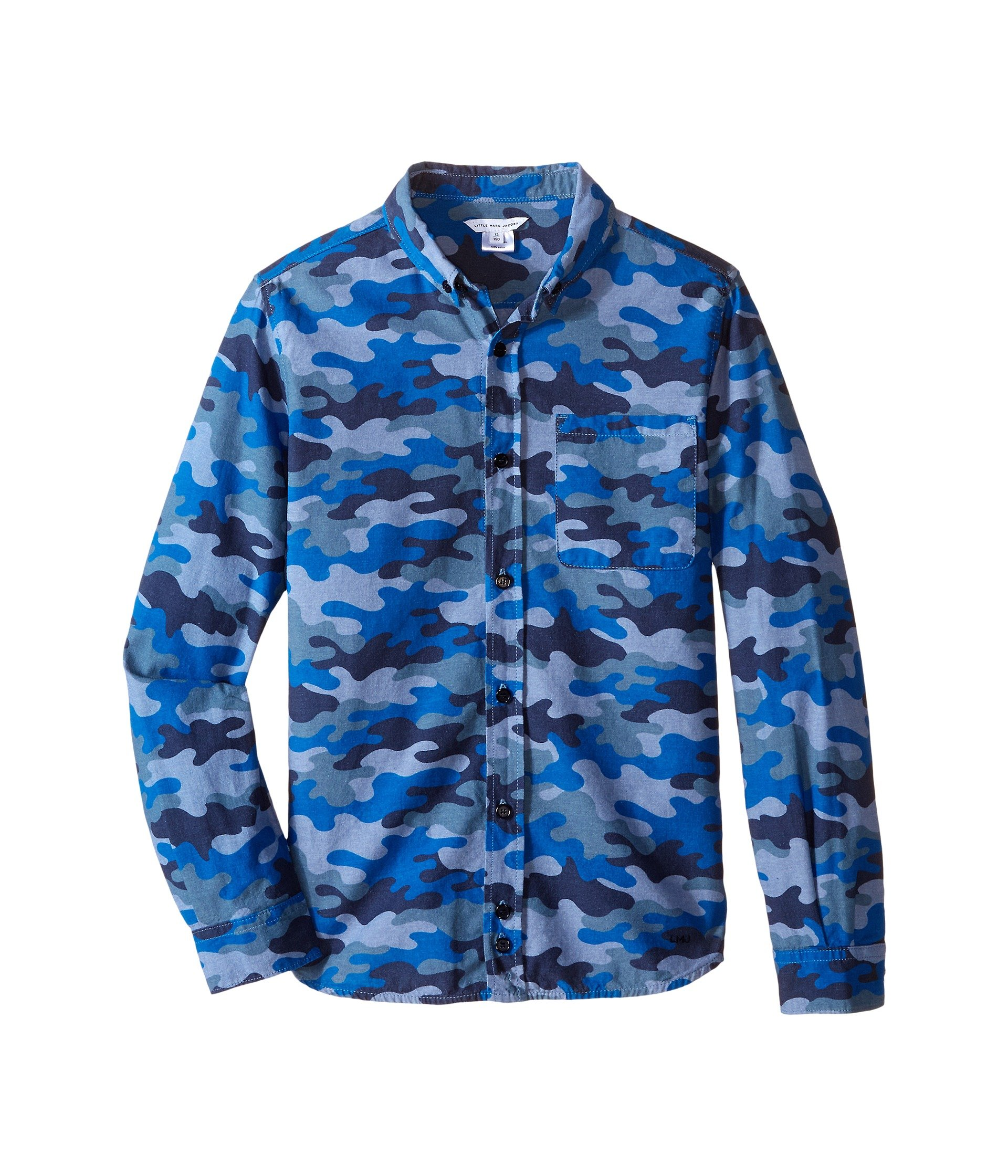 Little Marc Jacobs Boys Chambray Camoflage Shirt (Big Kids), Denim Blue, 12L by Little Marc Jacobs (Image #1)