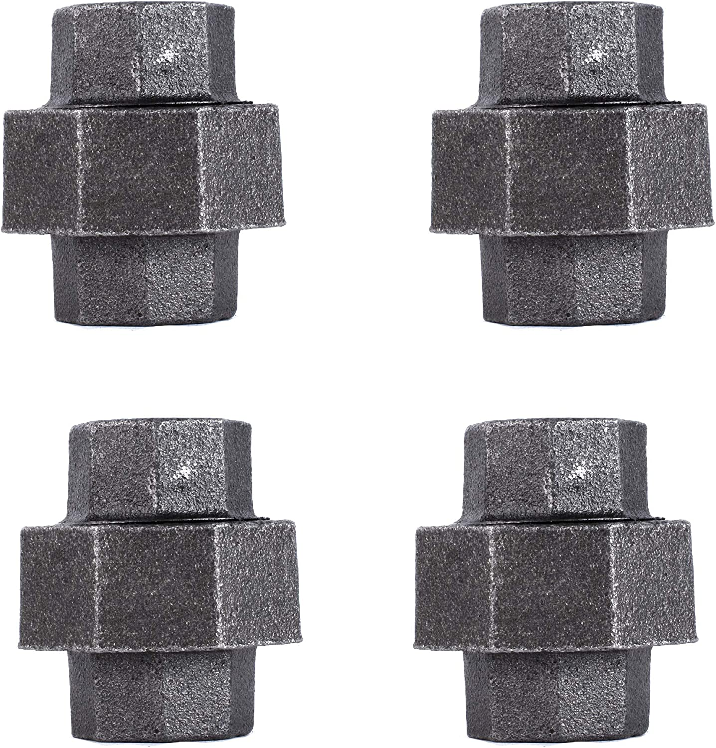 1/2 Inch Union Industrial Malleable Cast Iron Pipe Fitting 4 Pack by Pipe Decor, Pipe Components For Building Tables, Chairs, Shelving, and Custom Furniture, Fits Half Inch Pipes, Four Pack