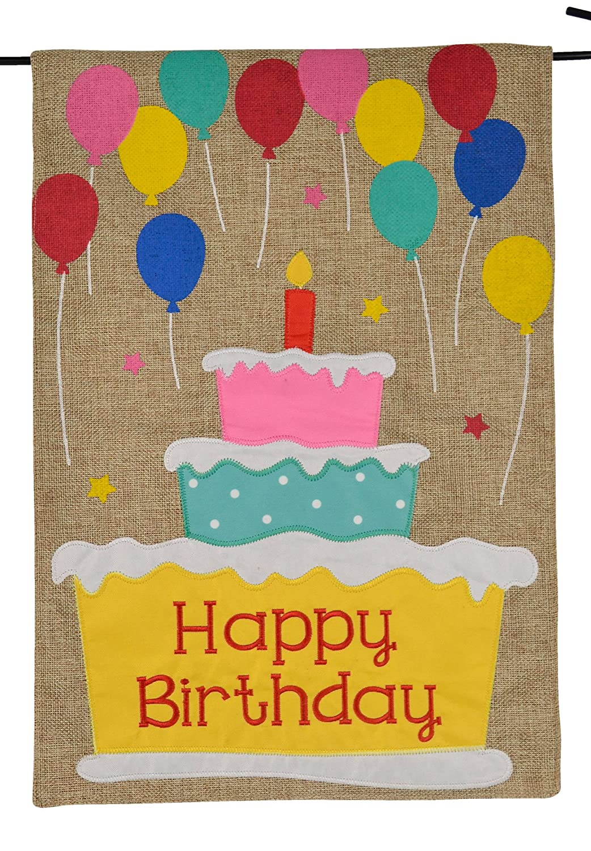Amazon.com : Happy Birthday Garden Flag - Happy Birthday Cake and ...