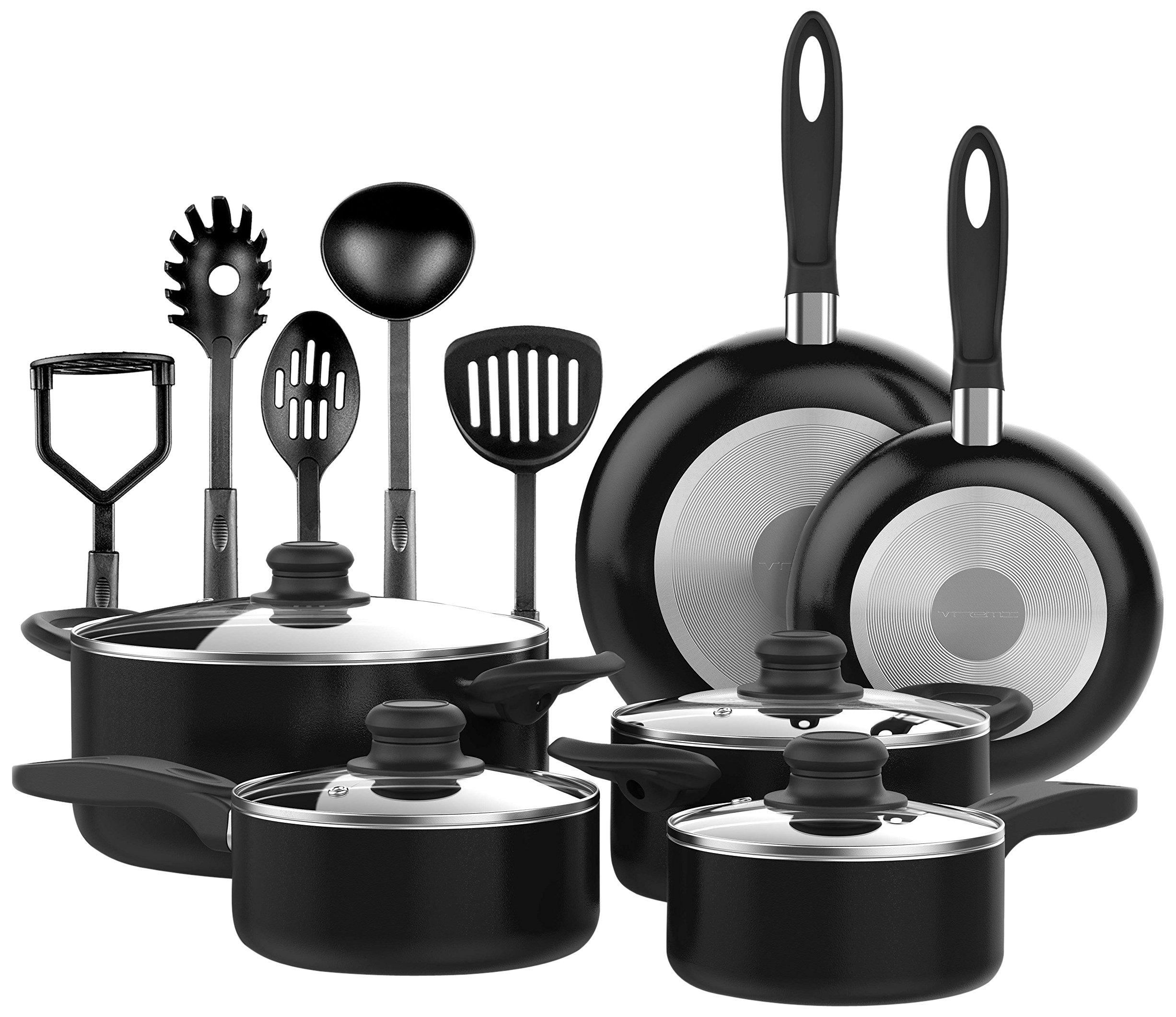 Vremi 15 Piece Nonstick Cookware Set; Includes 4 Pots With 4 Lids 2 Pans And .. 16