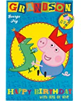 Peppa Pig Grandson Birthday Card with Badge