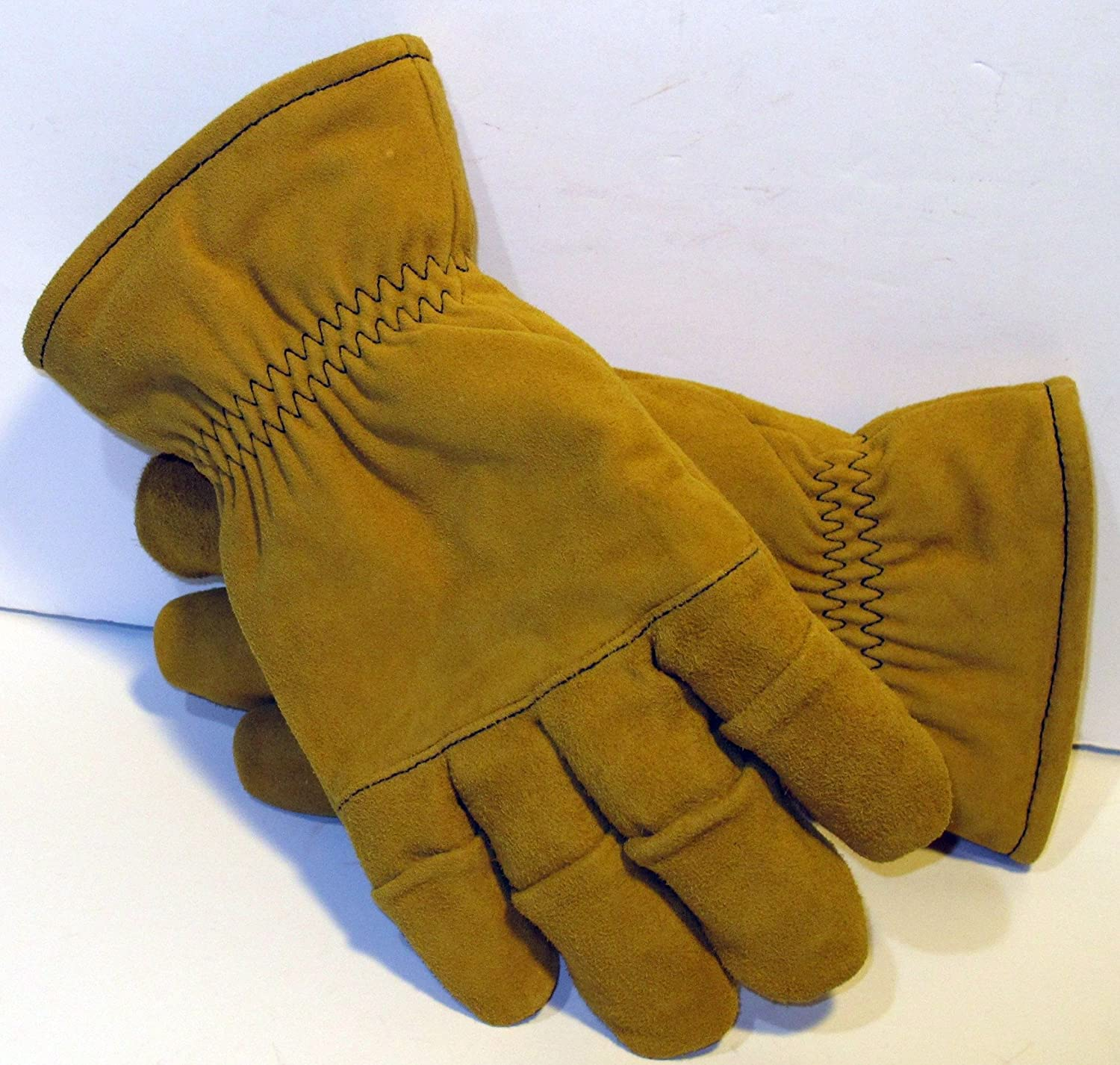 Size Medium - Tan Firefighter Heavy Duty Work Gloves NFPA Rated (B006JA3K4I)
