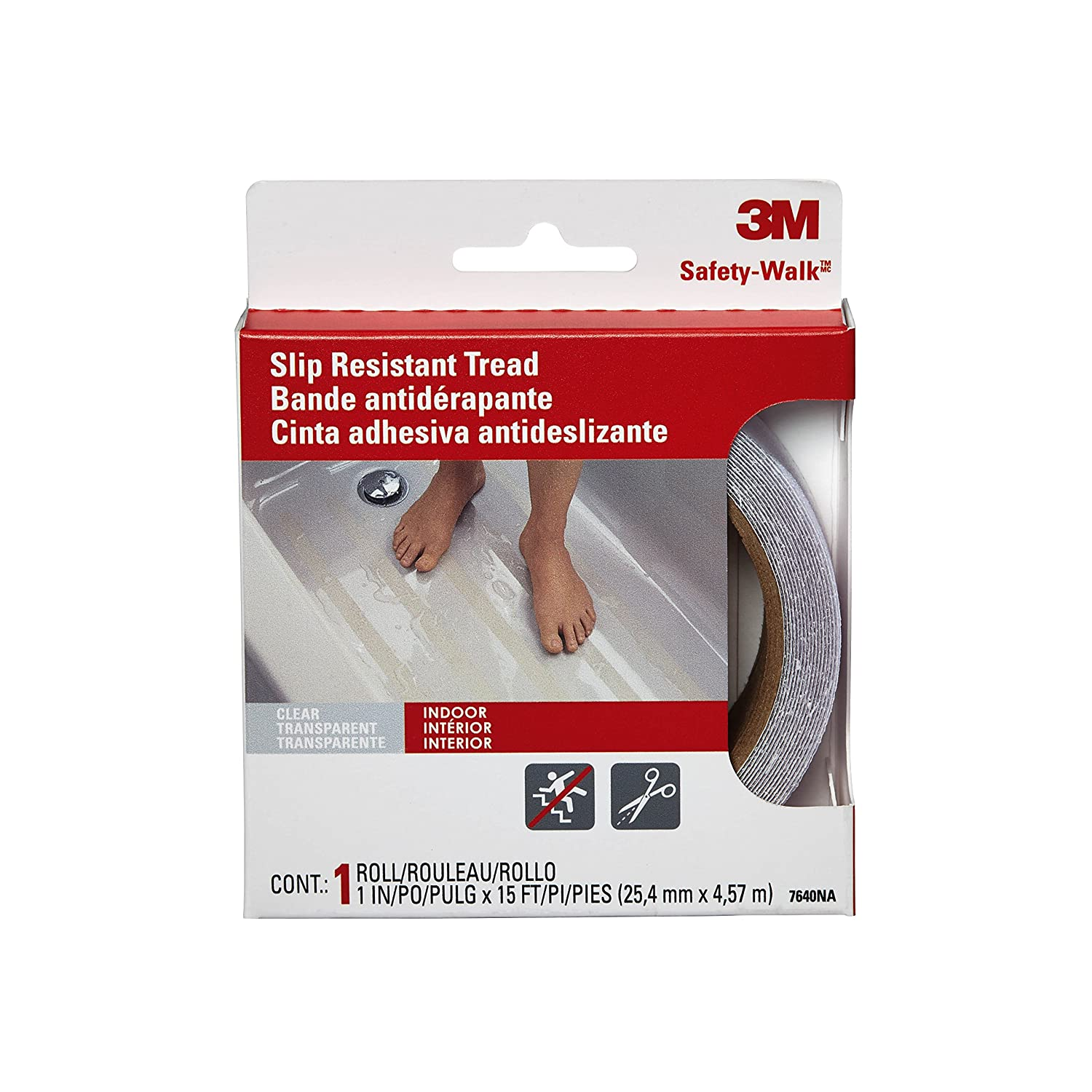 3M Safety 7640 Safety-Walk Tub and Shower Tread Tape, 1-Inch by 180-Inch, Clear