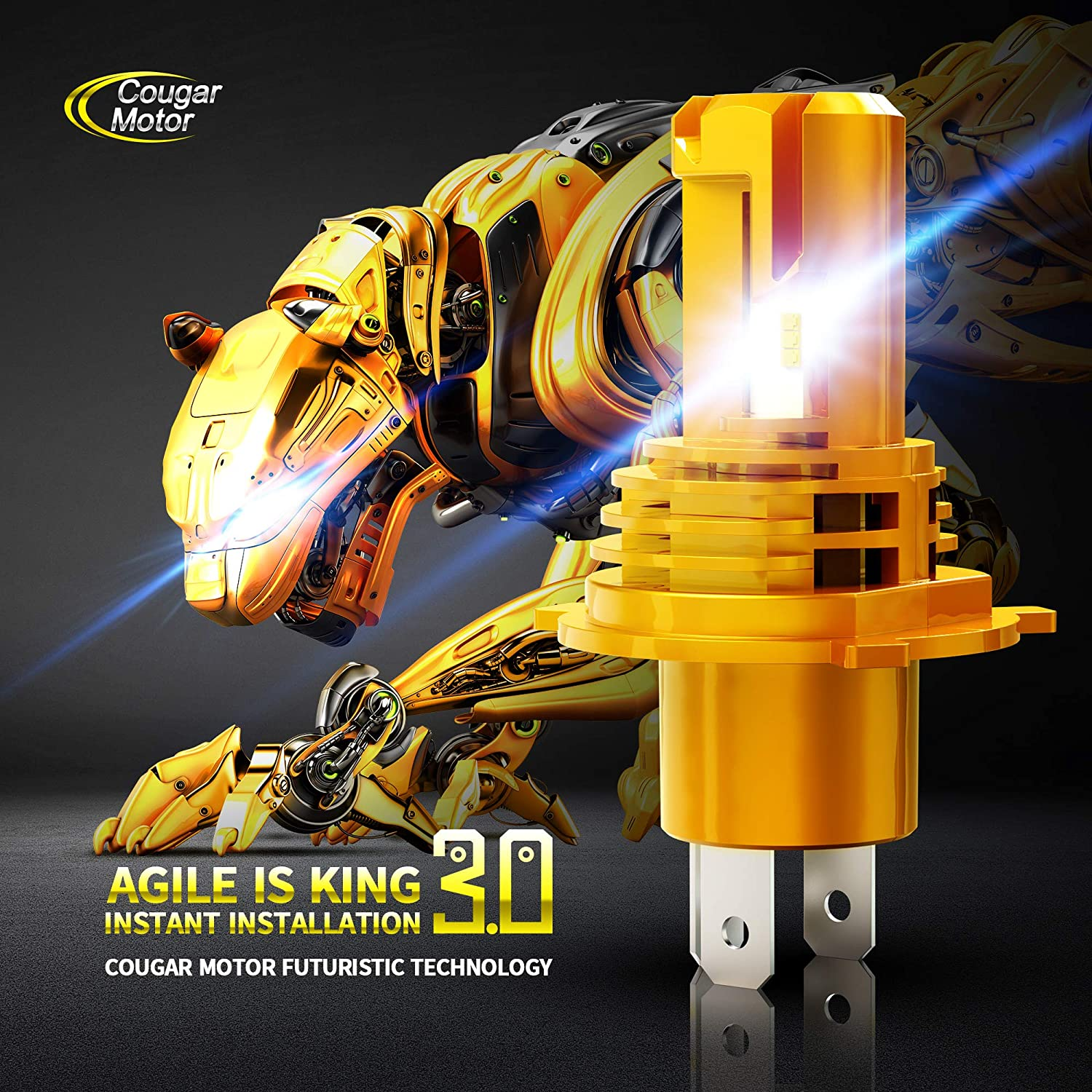 Cool White 12000Lm 6500K Slim All-in-One Conversion Kit Cougar Motor Wireless H4 LED Headlight Bulb