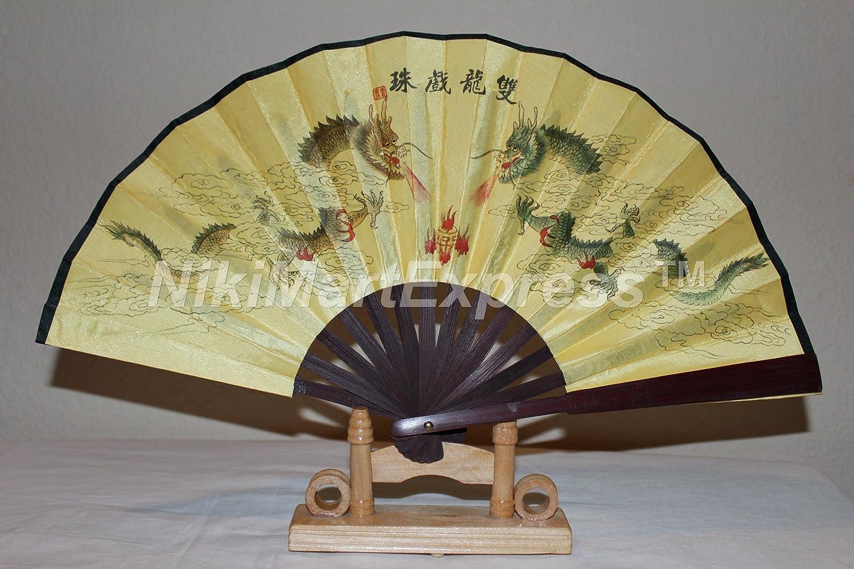 Amazon.com: Beautiful Chinese Double Dragon Bamboo & Silk Hand ...