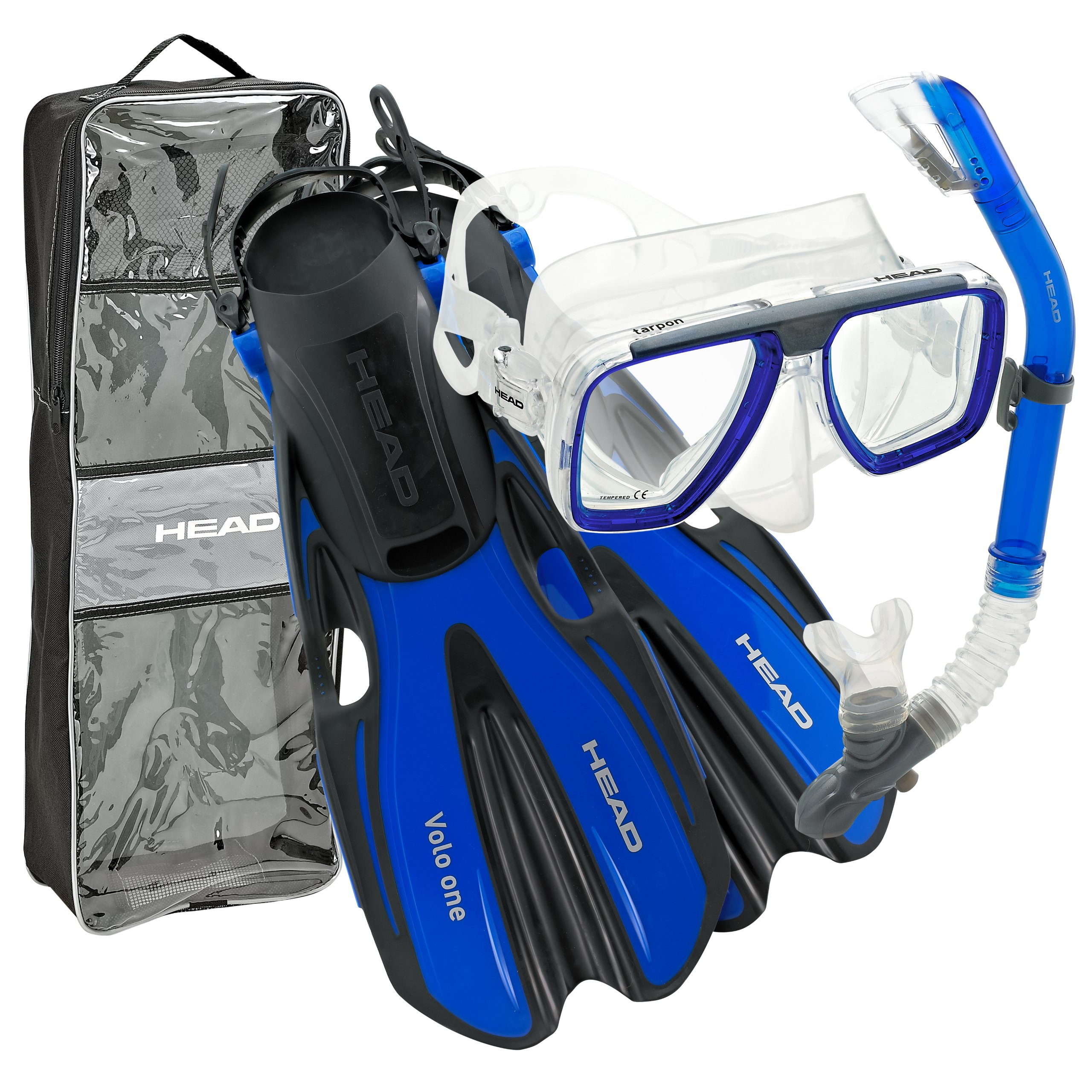 HEAD by Mares Tarpon Travel Friendly Premium Mask Fin Snorkel Set, Blue, Medium, (7-10)