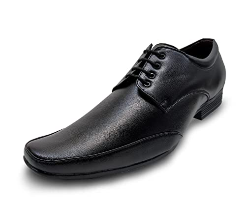 920e4508df5e Finix Men s Black Formal Shoes Office Party Daily Occasional Casual Leather  Look Black Men s wear  Buy Online at Low Prices in India - Amazon.in