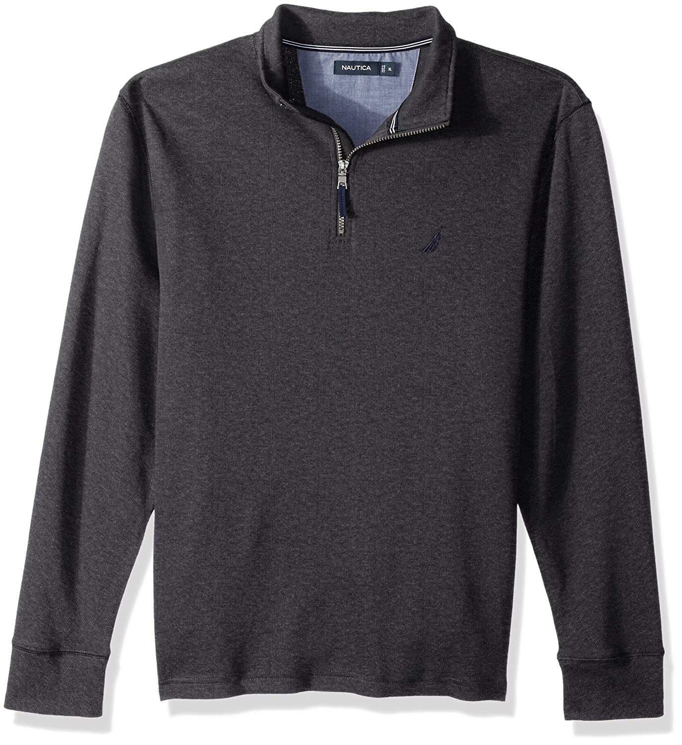 Nautica Mens Standard Long Sleeve French Rib Half Zip Mockneck with Button Placket K73270