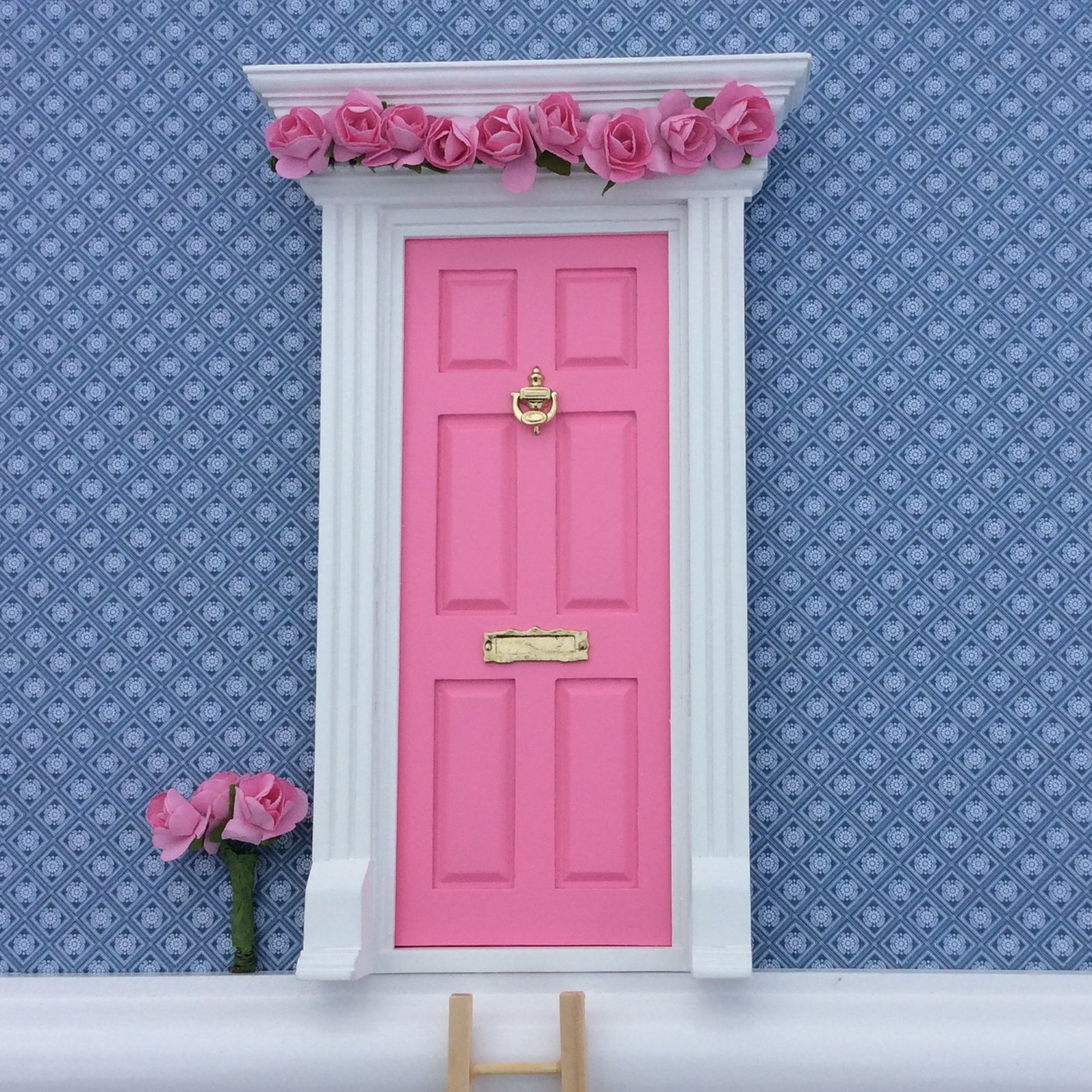 Fairy Door - Best Vintage Rose Bubblegum Pink Magic Door and Ladder Set for Kids Room Perfect for Bringing Fun, Adventure and Magic to Your Home