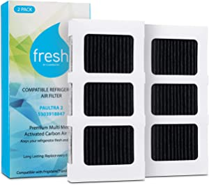Fresh Paultra2 Frigidaire Refrigerator Air Filter Replacement, Compatible with Model Numbers: Pureair Ultra 2, Pure Air Ultra 2, Pureair Ultra ii, Electrolux 242047805, 5303918847, EAP12364179, 2 Pack