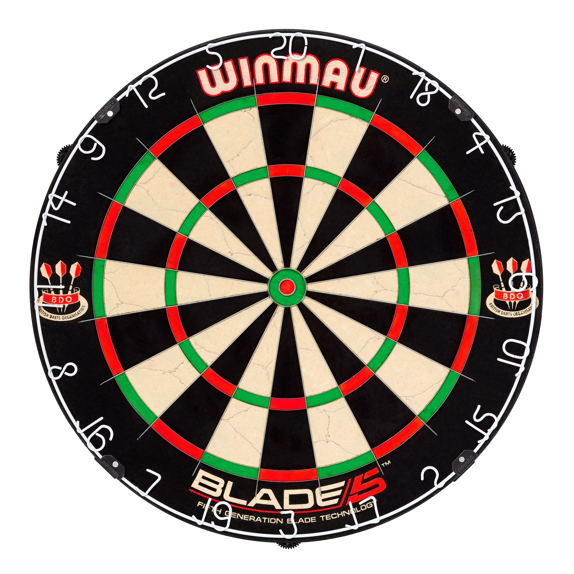 Winmau Blade 5 Bristle Dartboard with All-New Thinner Wiring for Higher Scoring and Reduced Bounce-Outs by Winmau