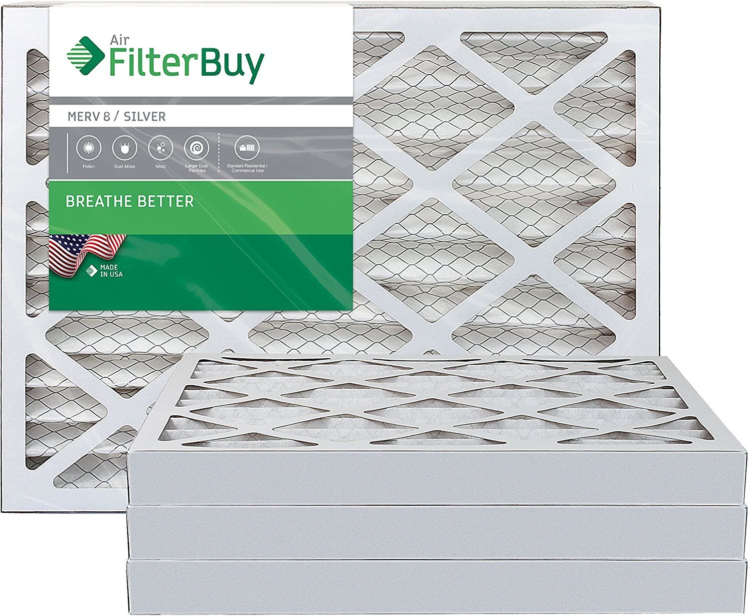 FilterBuy 14x24x2 MERV 8 Pleated AC Furnace Air Filter, (Pack of 4 Filters), 14x24x2 – Silver