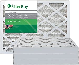 FilterBuy 14x14x2 MERV 8 Pleated AC Furnace Air Filter, (Pack of 4 Filters), 14x14x2 – Silver