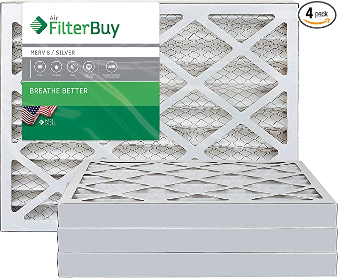 FilterBuy 24x24x1 AFB Silver MERV 8 Pleated HVAC AC Furnace Air Filter