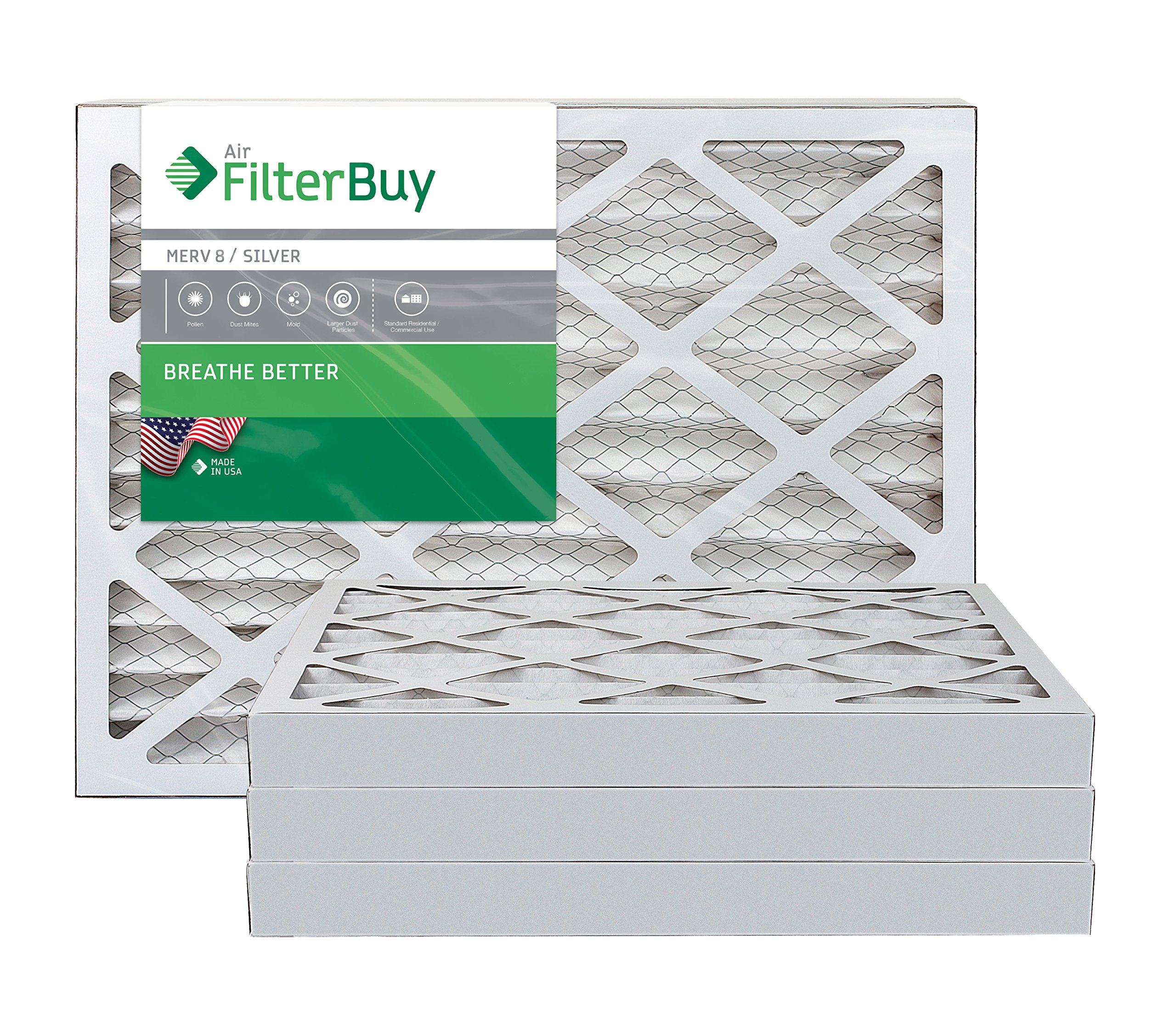 FilterBuy 17.5x23.5x2 MERV 8 Pleated AC Furnace Air Filter, (Pack of 4 Filters), 17.5x23.5x2 – Silver