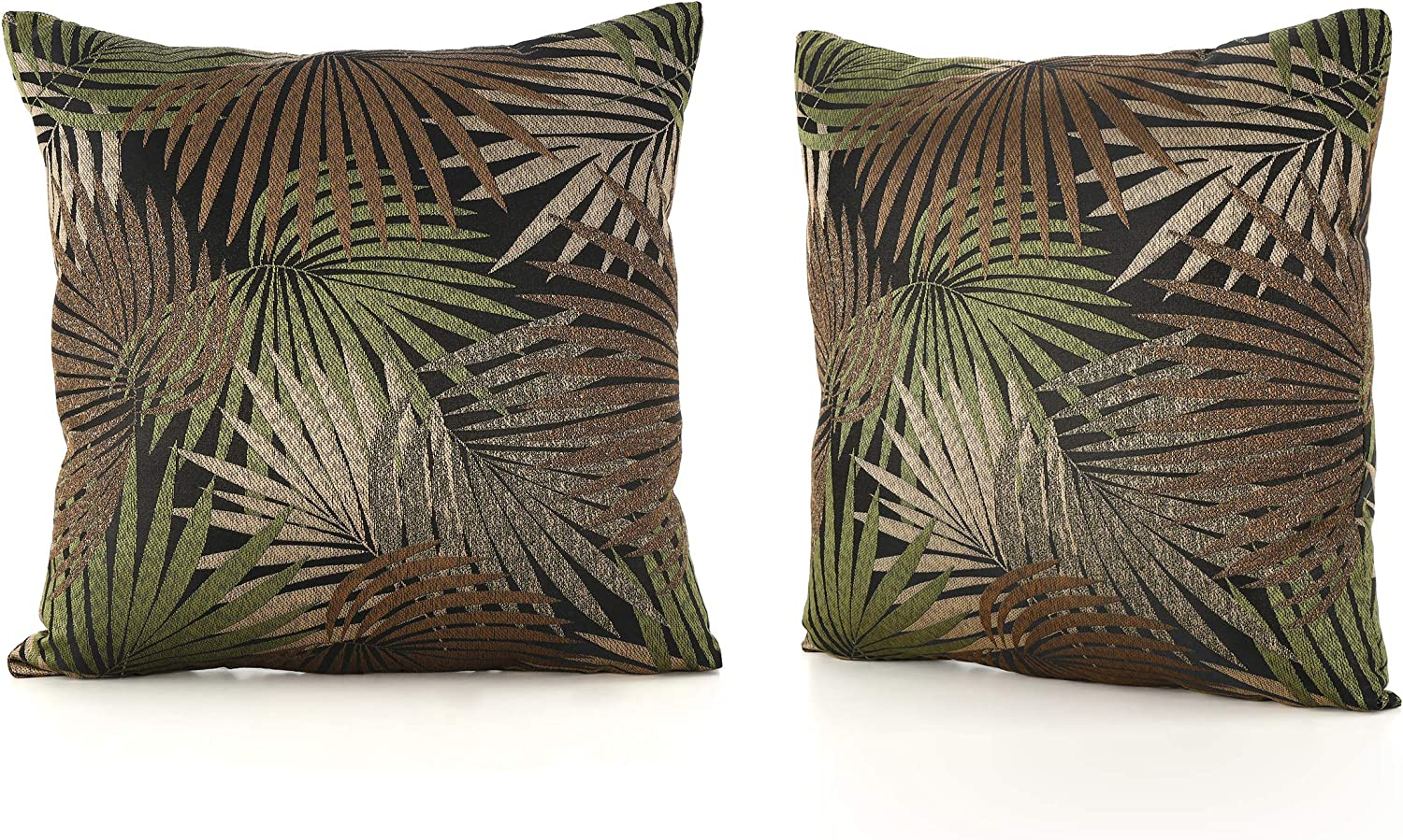 Christopher Knight Home Coronado Outdoor Square Water Resistant Pillows, 2-Pcs Set, Tropical Black