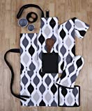 Set of Apron, Oven Mitt, Pot Holder, Pair of Kitchen Towels in a Unique Geometric Design, Made of 100% Cotton, Eco-Friendly & Safe, Value Pack and Ideal Gift Set, Kitchen Linen Set By CASA DECORS