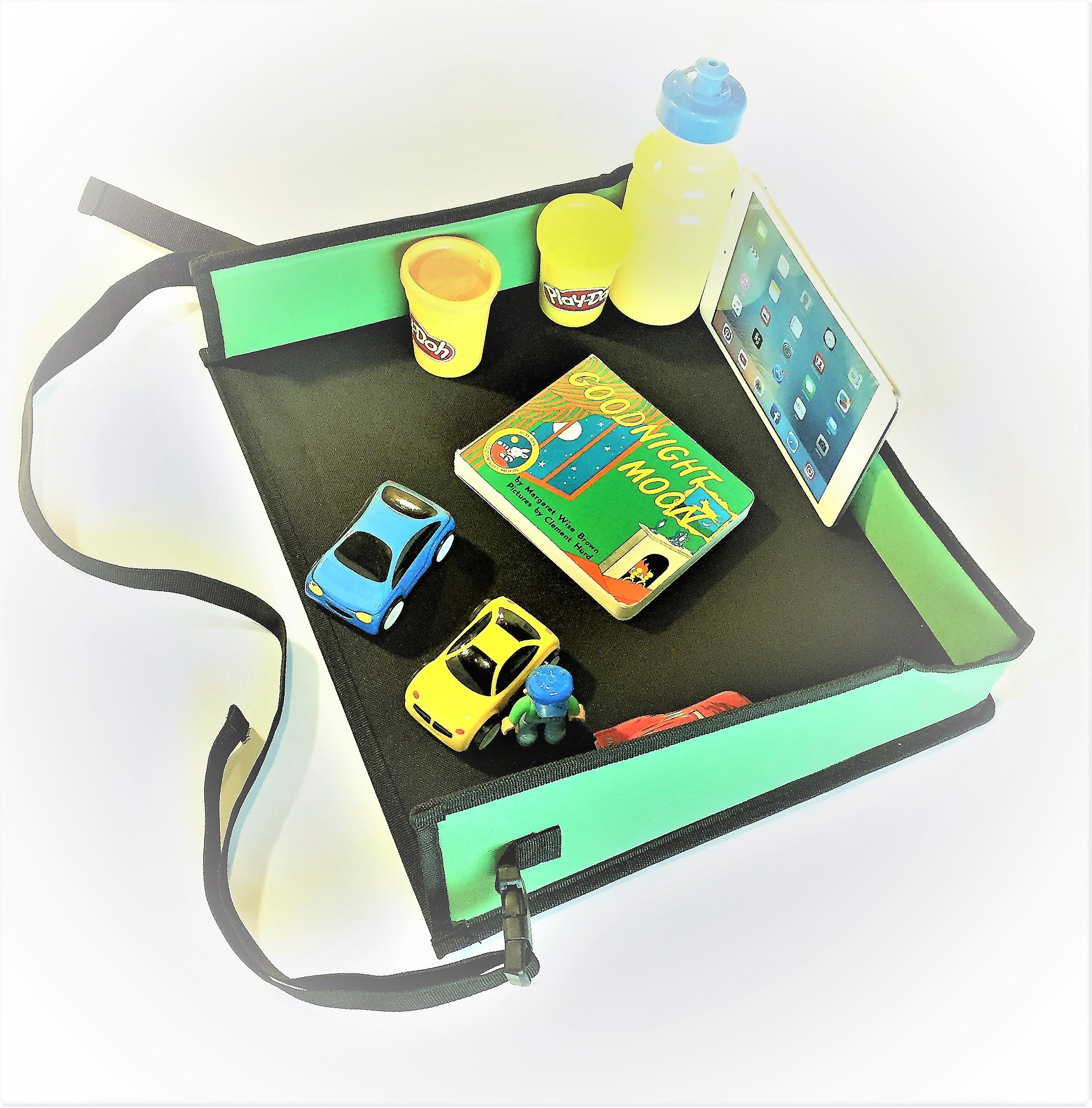 Batalee Kids Travel Tray for Car Toddlers Snack Play Activity Tray Portable Lap Tray with Mesh Pockets for Cars Seat, Strollers, Planes - Quality Material Tall Side Walls - Perfect Car Organizer by Batalee (Image #6)