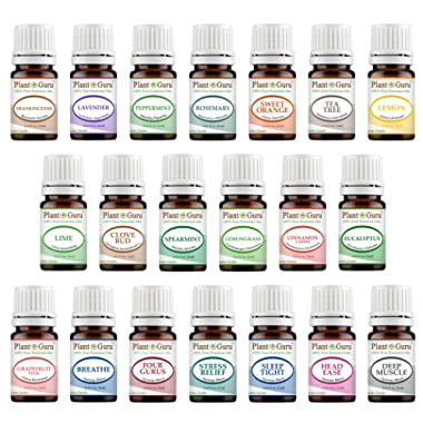 Aromatherapy Top 20 Essential Oil Set 5 ml. Pure Therapeutic Grade Kit 14 Singles - 6 Blends (5 ml.)