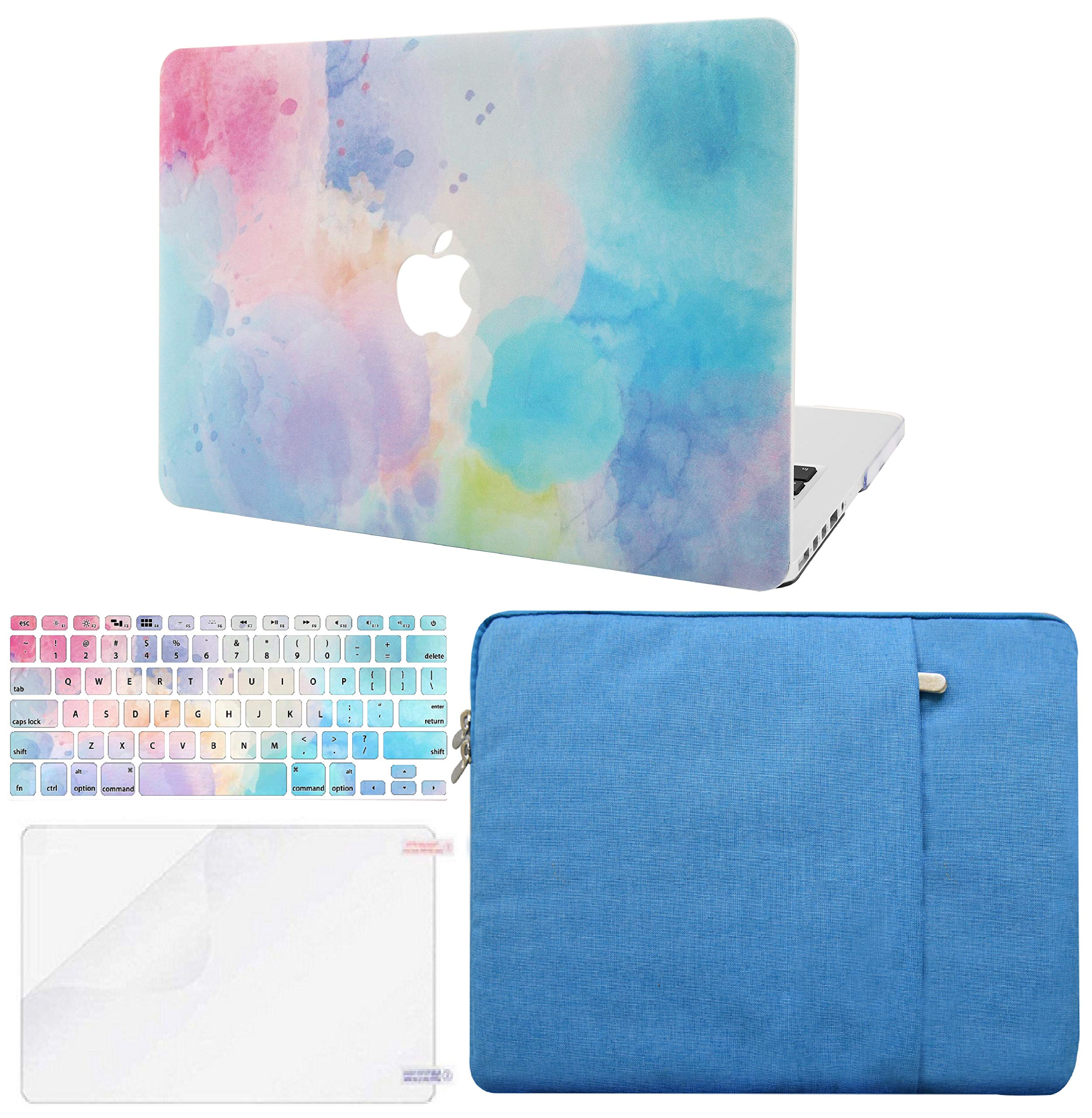 KECC Laptop Case for MacBook Pro 13'' (2019/2018/2017/2016,Touch Bar) w/Keyboard Cover + Sleeve + Screen Protector (4 in 1 Bundle) Hard Shell A2159/A1989/A1706/A1708 (Rainbow Mist 2)