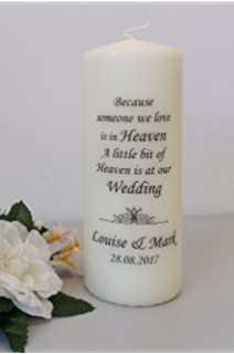 Personalised Memorial Absence Remembrance Candles For Wedding Large ...
