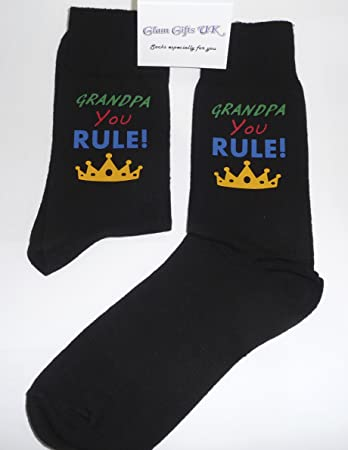 Grandpa You Rule Socks With a Crown Great Novelty Gift Amazon