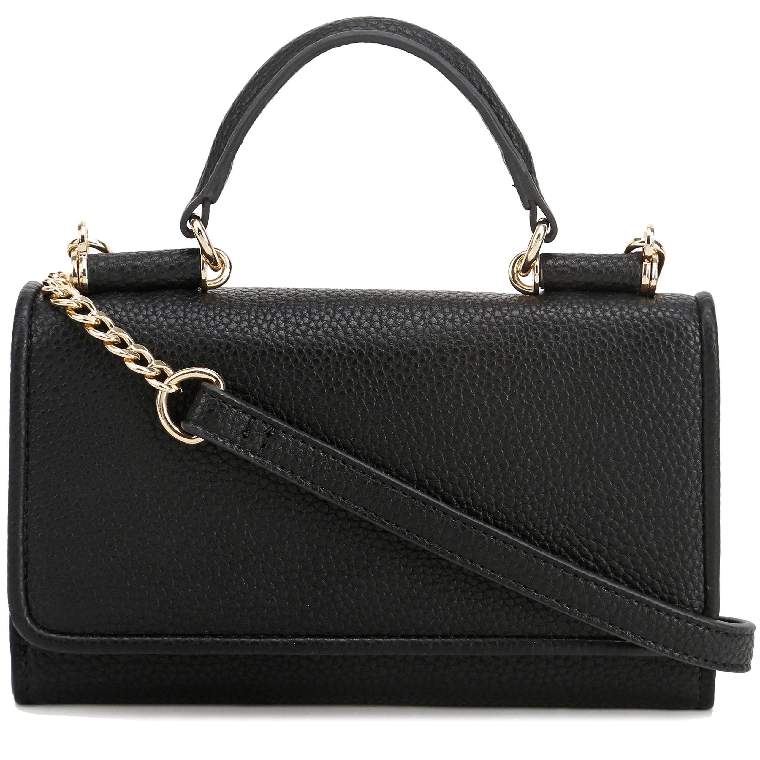 Lily Jane Top Handle Clutch Crossbody Purse with Removable Chain Strap (Black)