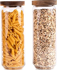 Ökohome Glass Storage Containers – Food Canisters with Acacia Wood Lids for Pantry – Big and Small Stackable Kitchen Jars – Kitchen Glass Containers for Tea, Coffee, Spaghetti and Candy (Set of 2 - 1150mL(39oz))