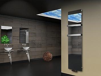 Badheizkörper Design Montevideo 3 (Spiegelglas) HxB: 180 x 47 cm, 1118  Watt, Spiegel + 2 Handtuchhalter (50mm) (Marke: Szagato) Made in Germany /  ...