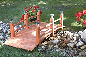 Decorative Wood Bridge with Solar Lights, 5ft.
