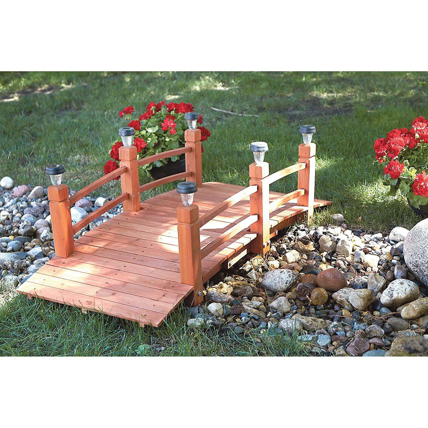 Garden designs with bridges and wishing wells landscaping ideas - Amazon Com Decorative Wood Bridge With Solar Lights 5ft Patio Lawn Garden