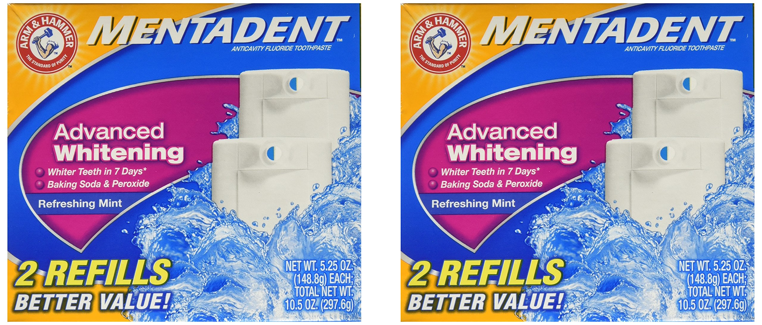 Arm & Hammer Mentadent Advanced Whitening Toothpaste, Twin Refills, 10.5 Ounce (2 pack) by Arm & Hammer (Image #2)