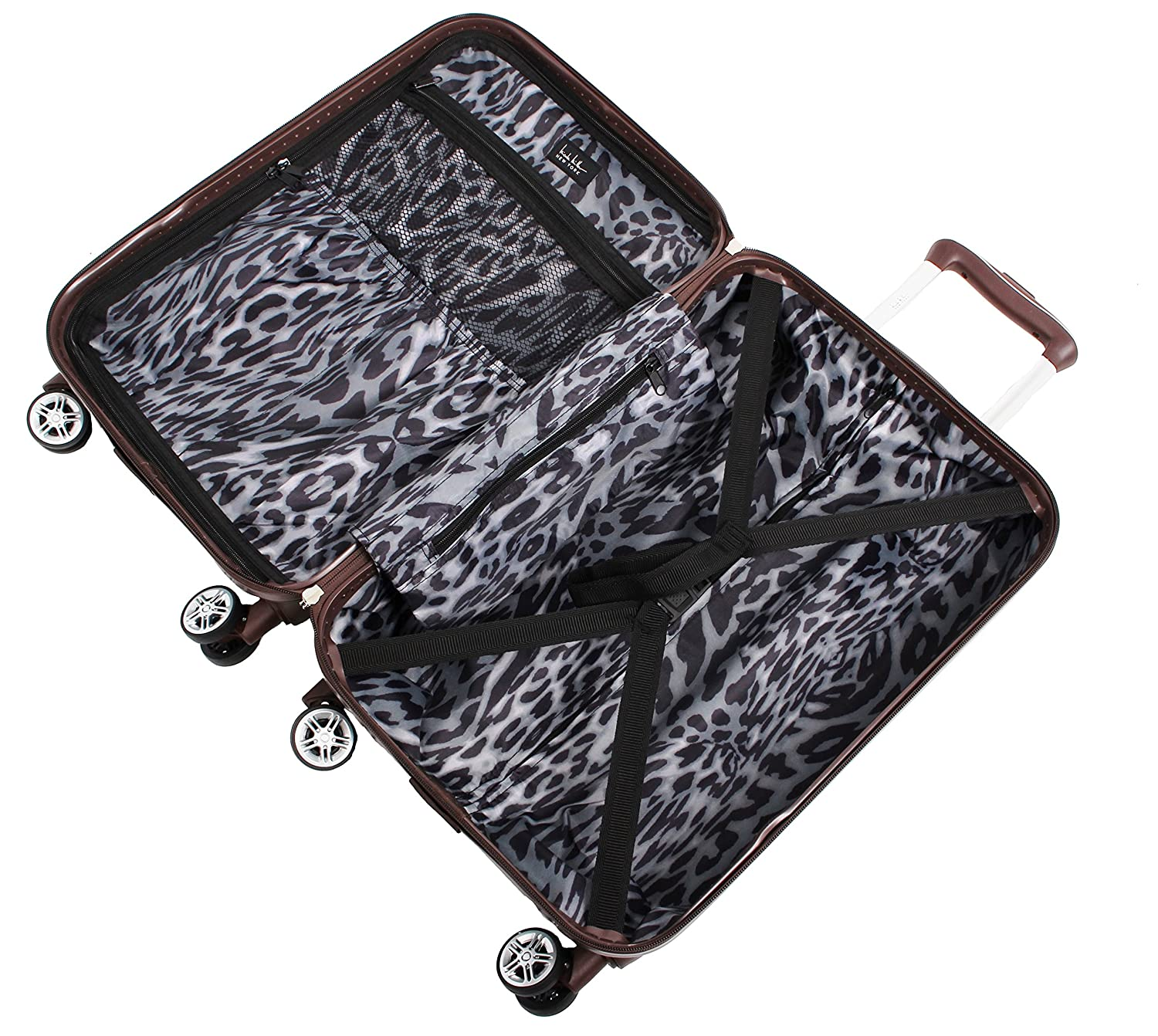 Black Nicole Miller New York Madison Collection Hardside 3-Piece Spinner Luggage Set: 28 24 and 20 24 and 20