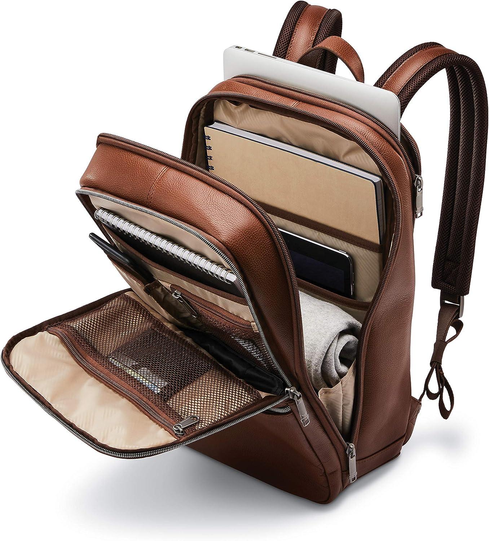 One Size Samsonite Classic Leather Slim Backpack Black
