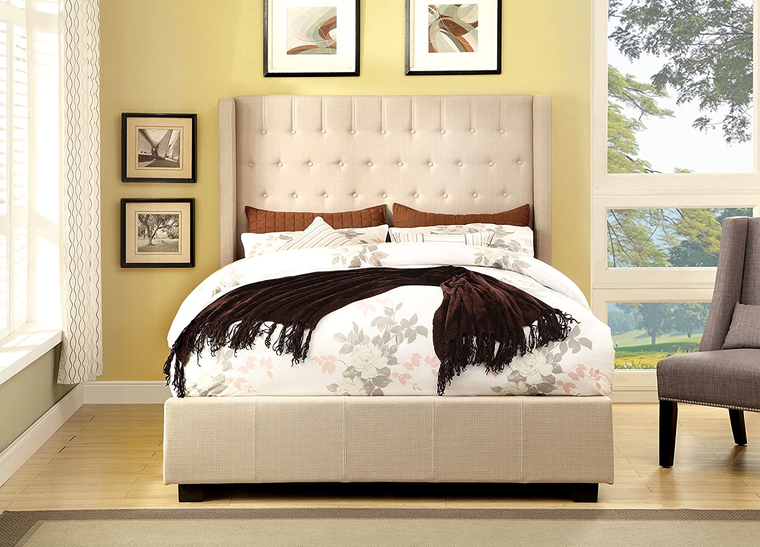 Amazon.com: Furniture of America Minka Leatherette Platform Bed with High  Panel Headboard, California King, Silver: Kitchen & Dining