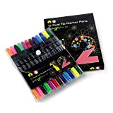 12 Dual tip watercolor art marker pens for kids and adult coloring books. Teacher supplies, set of double sided art pens, art supplies & back to school supplies. 12 color office stationery pen