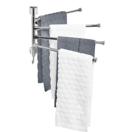 MyGift Wall Mounted Stainless Steel Swivel Towel Bar/4 Swing Arm Hand Towel  Drying Rack