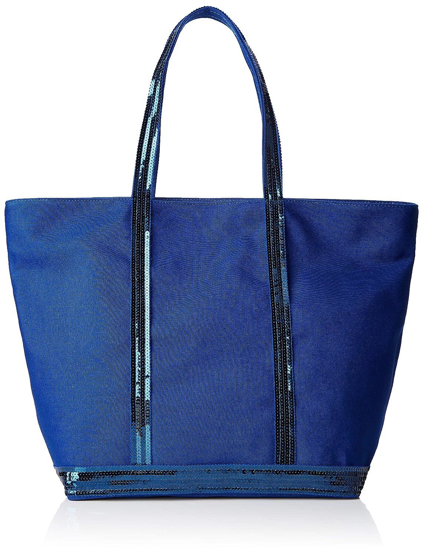 bluee (Cobalt) VANESSA BRUNO Women's Cabas Moyen + Zippe Coton Et Paillettes Tote